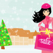 Fashion shopping girl with shopping bags and gift box - Image vectorielle