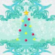 Stock Vector: Abstract christmas tree card