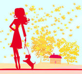 Girl walking with her dog in autumn landscape. — Stock Vector