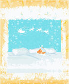 Happy New year card with Santa and winter landscape — Stockvektor