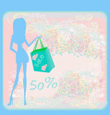 Fashion girl Shopping illustration — Stock Vector