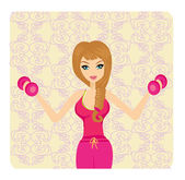 Fit woman exercising with two dumbbell weights on her hands — Wektor stockowy