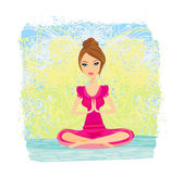Yoga girl in lotus position — Stock Vector