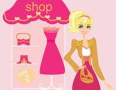 Beautiful women Shopping — Stock Vector