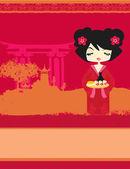 Piękna dziewczyna azji sushi - menu szablon zapraszamy — Wektor stockowy