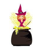 Halloween witch preparing potion — Stock Vector
