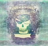 頭蓋骨の海賊 - レトロなグランジ カード — ストック写真