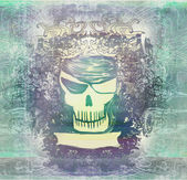 Skull Pirate - retro grunge card — Stock Photo