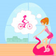 Stock Vector: Girl on exercise bikes