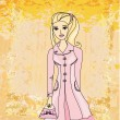 Autumnal fashion girl in a coat in sketch-style. Vector illustr - Stock Vector