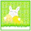 Illustration of happy Easter bunny carrying egg - Stock Vector
