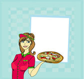 Beautiful woman serving pizza — Stock Vector