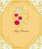 Pájaro de navidad con bolas decorativas — Vector de stock