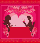 Man proposing with an engagement ring to his love in a restaura — Stock Vector