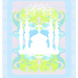 Ramadan background - mosque silhouette illustration card — Imagen vectorial