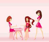 Illustration vectorielle de la belle femme dans un salon de beauté — Vecteur