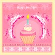 Stock Vector: Illustration of cute retro cupcakes card - Happy Birthday Card