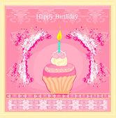 Ilustrace roztomilé retro košíčky - všechno nejlepší k narozeninám karta — Stock vektor