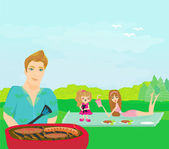 A vector illustration of a family having a picnic in a park — Stock Vector