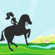 Girl jumping with horse - Stock Vector