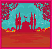 Ramadan background - mosque vector illustration — Cтоковый вектор