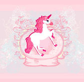 Vector Illustration of beautiful pink Unicorn. — Stock Vector