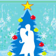 Couple kissing by a Christmas tree — Stock Vector #14759845