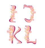 Vector spring alphabet with flowers letters I,J,K,L — Stock Vector