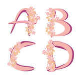 Vector spring alphabet with flowers letters A,B,C,D — Stock Vector