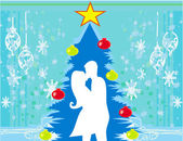 Couple kissing by a Christmas tree — Stock Vector