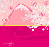 Japanese cherry tree to the background of the mountain — Stock Vector