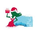 サンタの女の子と冬の風景と幸せな新年カード — ストックベクタ