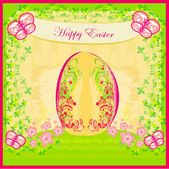 Easter Egg On floral Background — Stock Vector