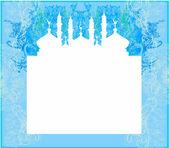 Fondo artístico con luna y mezquita — Vector de stock