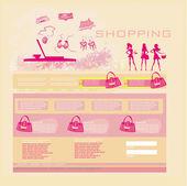 Modèle de site web shopping mode — Vecteur