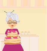 Grandma baked a delicious cake — Stock Vector
