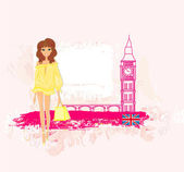 Beautiful woman in London — Stock Vector