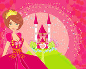 Beautiful young princess in front of her castle — Stock Vector