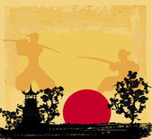 Old paper with Samurai silhouette — Stock Vector