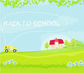 заголовок школьный автобус в школу с счастливые дети — Cтоковый вектор