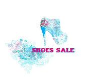 Floral schoenen poster — Stockvector