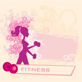 Fit woman exercising with two dumbbell weights on her hands pos — Stock Vector