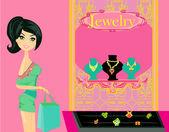 Flicka och smycken — Stockvektor