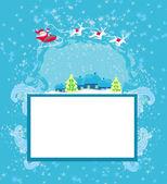 šťastný nový rok karta s santa a zimní krajina — Stock vektor