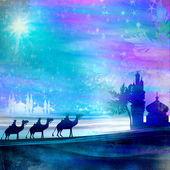 Clásico tres escena mágica y brillante estrella de belén — Foto de Stock