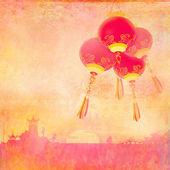 Paesaggio asiatico e lanterne cinesi — Foto Stock