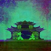 Samurai silhouette in Asian Landscape — Stock Photo