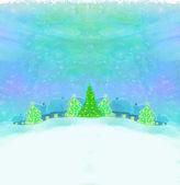 Noite de natal em cartão da aldeia — Foto Stock