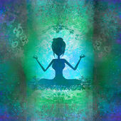 Yoga girl in lotus position - abstract background — Stockfoto