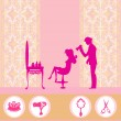 Stock Vector: Beautiful womsilhouette in barber shop